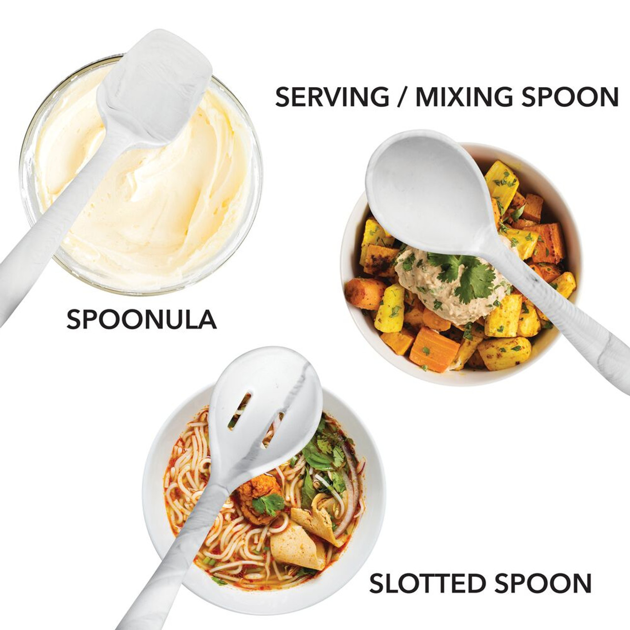 Includes Spatula//Turner Ladle and Pasta Fork Solid Spoon Large Marble 6 Pack Spoonula Slotted Spoon mDesign Silicone Kitchen Utensil Set Serving//Mixing Spoon