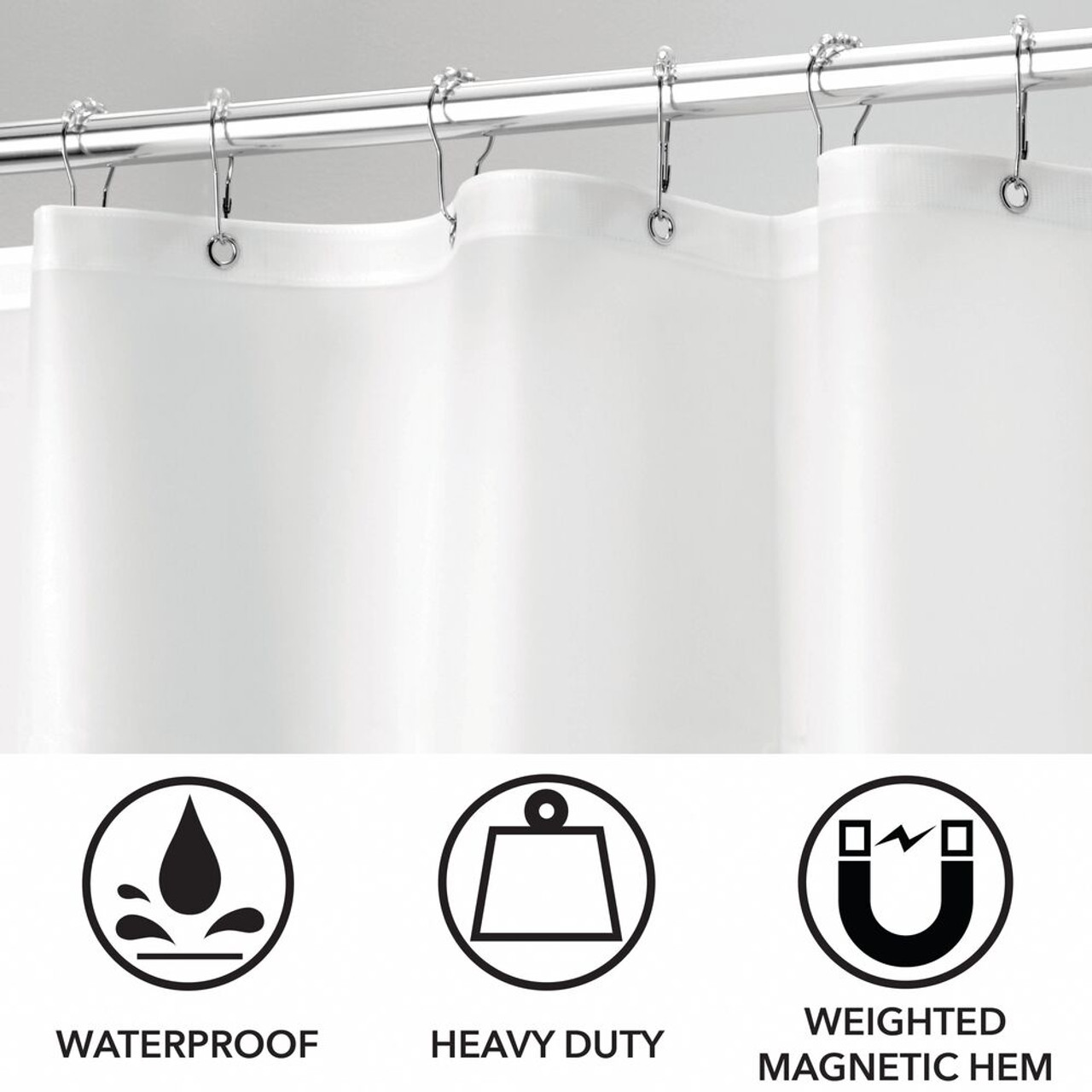 Vinyl Shower Curtain Liner In White 72x84 Extra Long Mildew Mold Water Resistant
