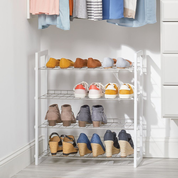 4 Tier Metal Shoe Rack Floor Stand Storage