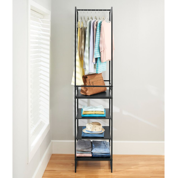 4 Shelf Modular Storage Organizer with Shelves + Garment Rack