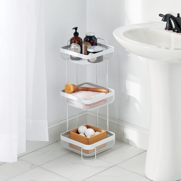 3 Tier Wire Free Standing Bathroom Storage Shelf with Mesh Baskets