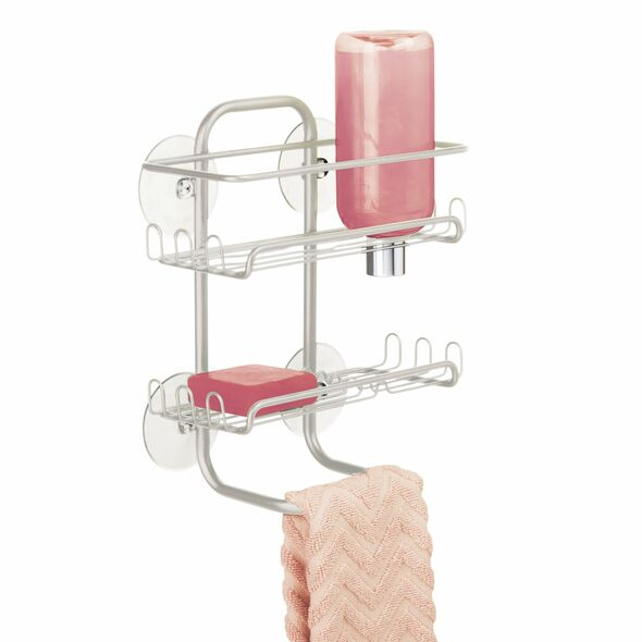 Metal Suction Shower Caddy Hanging Storage Shelves