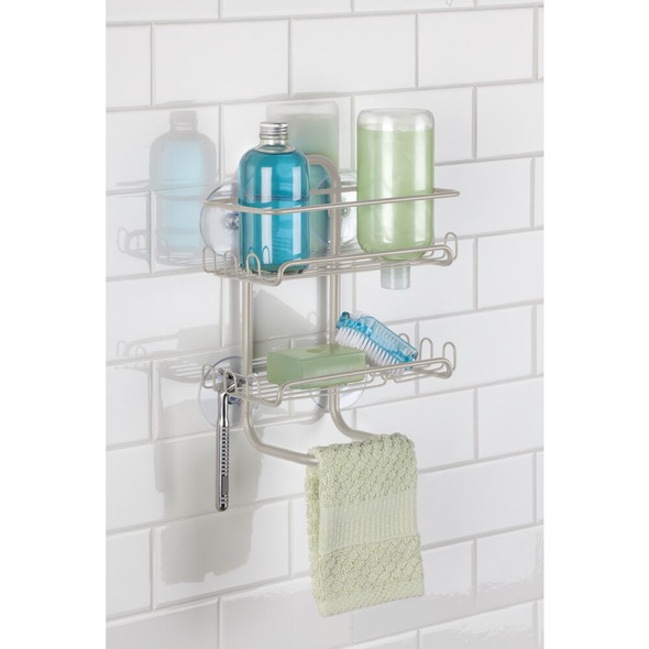 Metal Suction Bathtub/Shower Caddy Hanging Storage Shelves