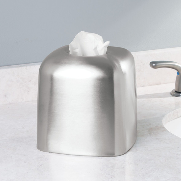 Metal Square Facial Tissue Box Cover - Brushed