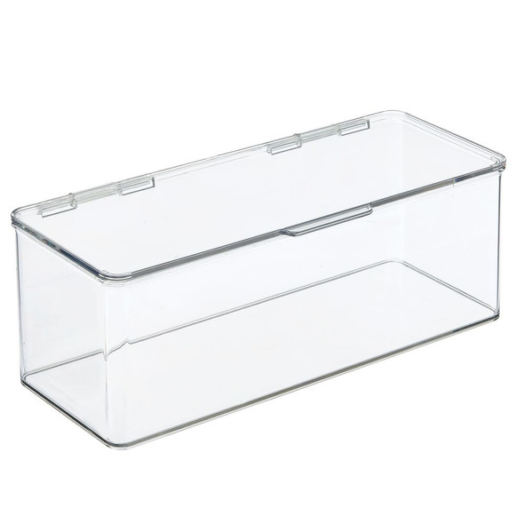"""Long Plastic Stackable Storage Box with Lid - 5.5"""" x 13.3"""" x 5"""""""