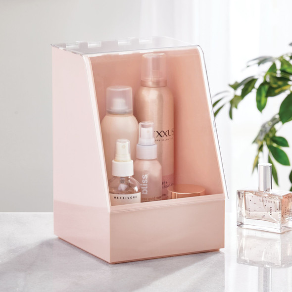 Plastic Cosmetic Storage Organizer with Dust Lid