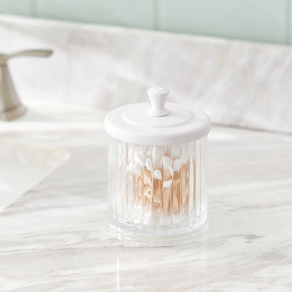 Plastic Bathroom Storage Canister with Lid - Pack of 2