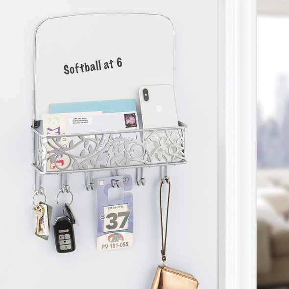 Metal Key Rack and Mail Center with Dry Erase Board