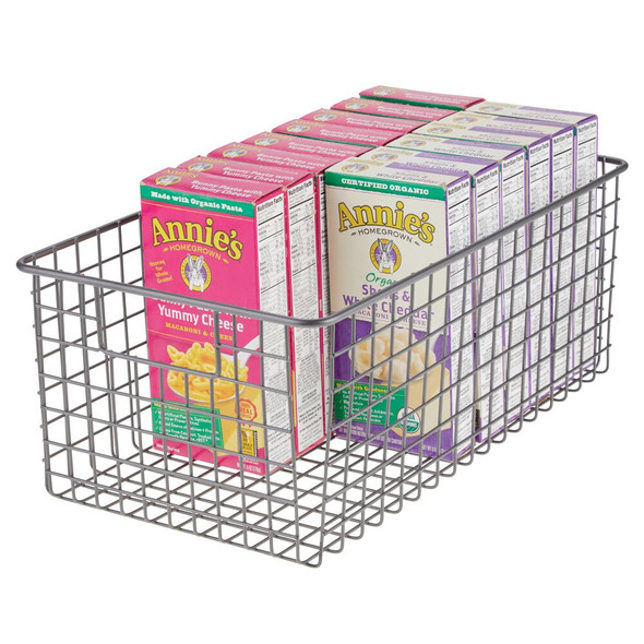 "Large Metal Wire Kitchen Pantry Food Storage Basket - 16"" x 9"" x 6"""