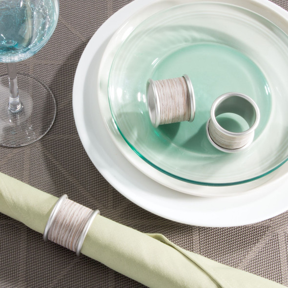 Rustic Metal Napkin Rings for Place Settings in Satin/Gray - Pack of 12
