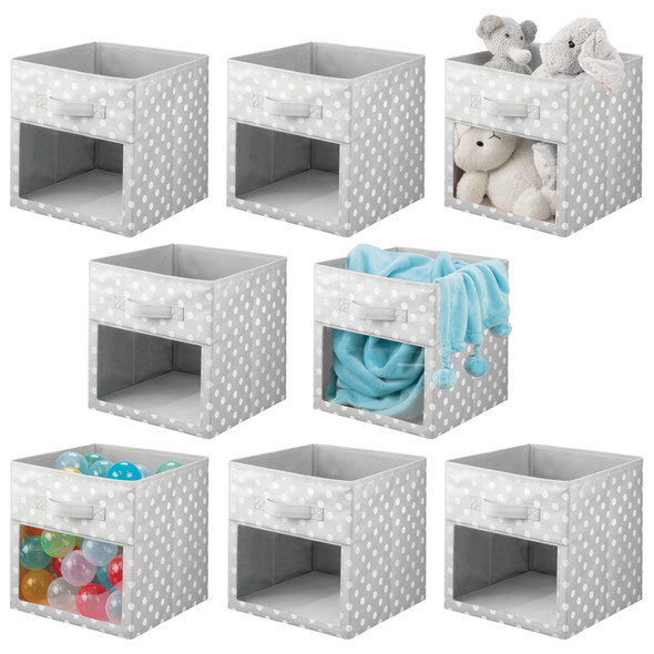 Fabric Storage Cube with Front View Window in Gray Polka Dot - Pack of 8