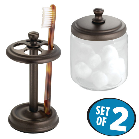 Glass Apothecary Jar and Toothbrush Holder Set - Brown