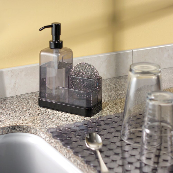 Plastic Kitchen Counter Soap Pump with Sponge Caddy - Clear/Black