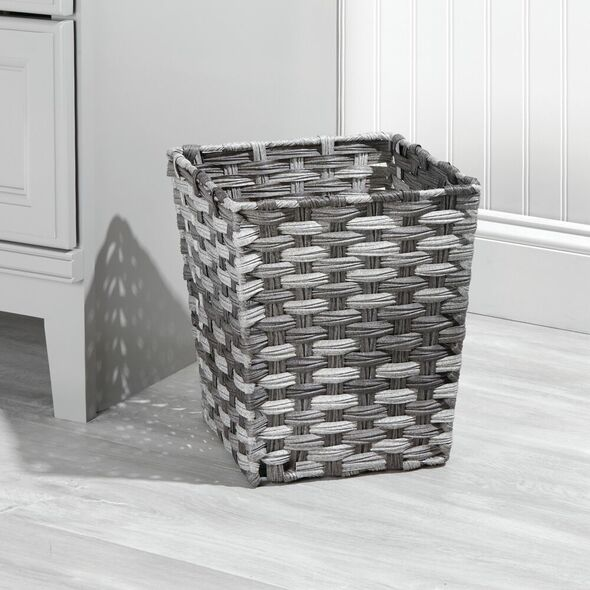Small Woven Trash Can Waste Basket - Gray