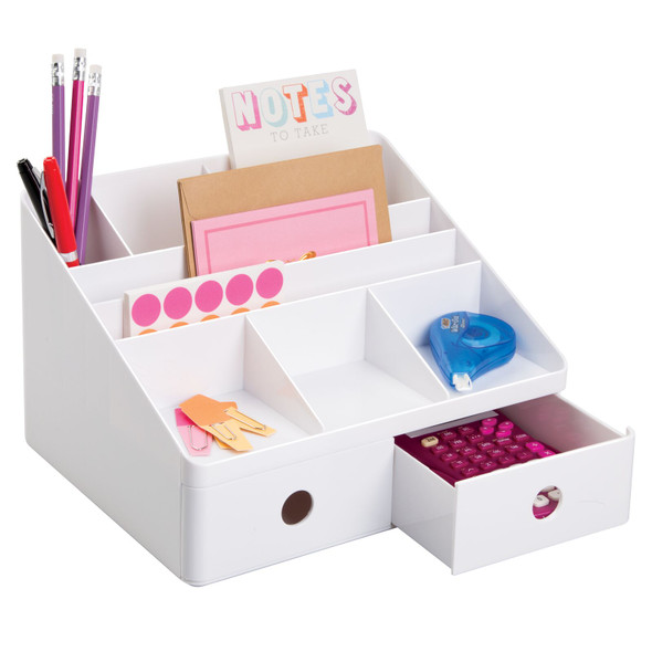 2 Drawer Divided Office Desk Organizer Storage Caddy in White
