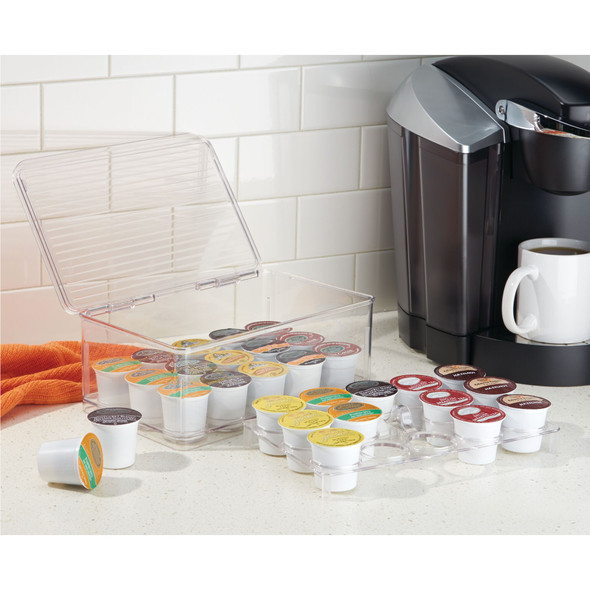 Multi Compartment Plastic Stacking Kitchen Box for Coffee Pods and Tea Bags - Set of 2