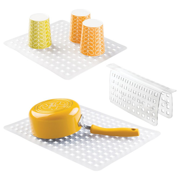 Kitchen Double Sink Protector Mats and Saddle - Set of 3