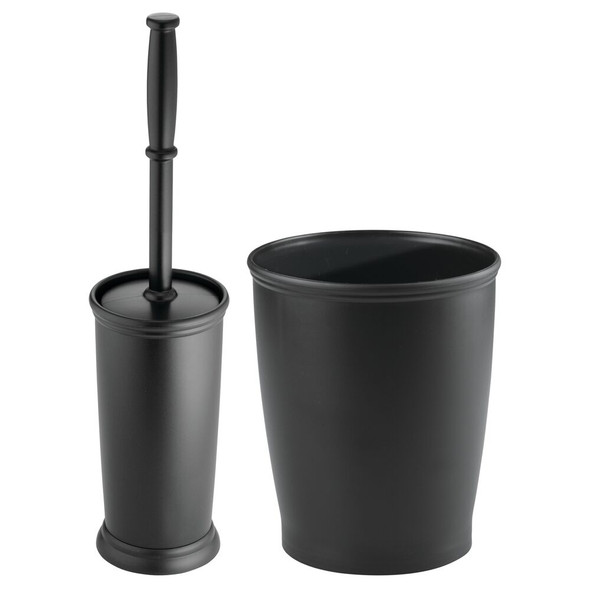 Compact Plastic Toilet Bowl Brush & Waste Can Combo in Black - Set of 2