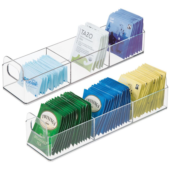 3 Compartment Plastic Tea Bag Holder and Sweetener Accessory Organizer - Pack of 2