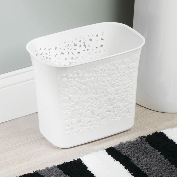 Small Plastic Trash Can Garbage Bin with Flower Design - White