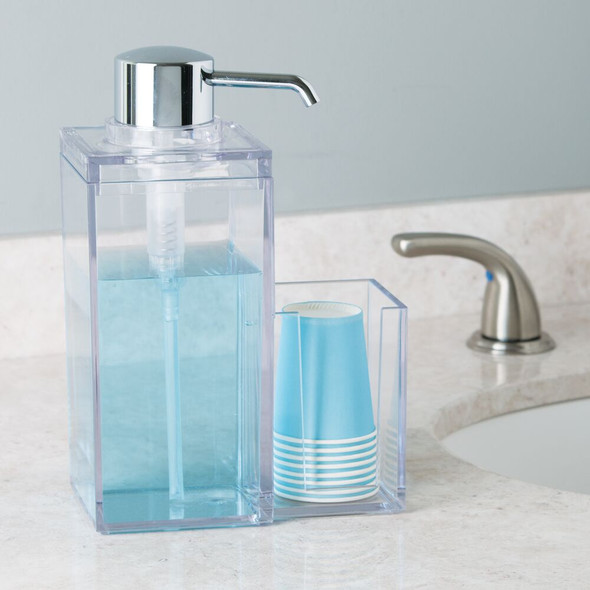 Plastic Mouthwash Dispenser and Cup Holder, 34 oz. - Clear/Chrome