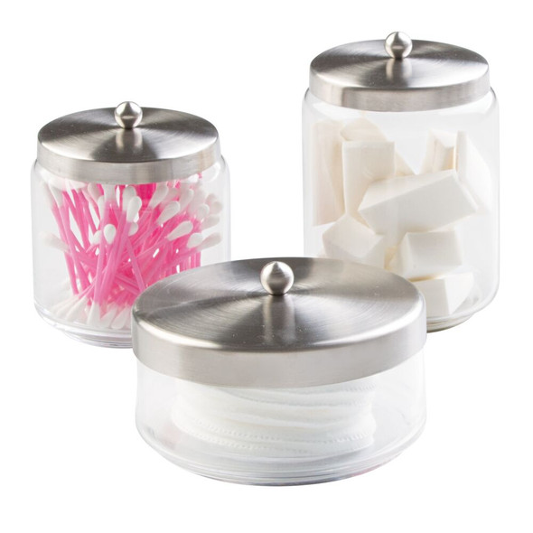Round Glass Vanity Storage Canisters in Clear/Brushed - Set of 3