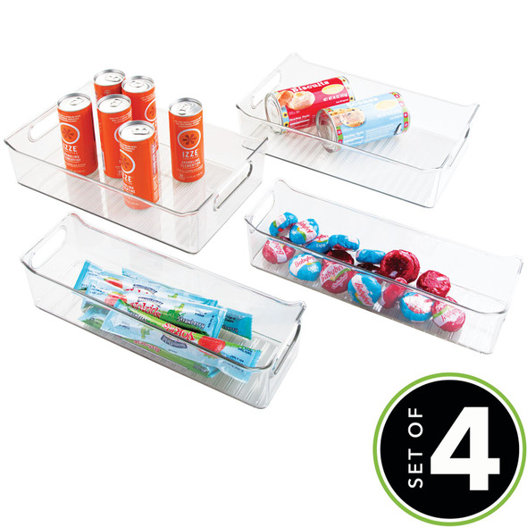 Plastic Kitchen Fridge & Pantry Food Storage Organizer Bins - Set of 4