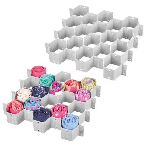18 Section Plastic Honeycomb Drawer Organizer - Pack of 2