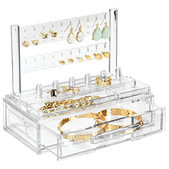 Acrylic Jewelry Earring and Ring Display Stand with Drawer