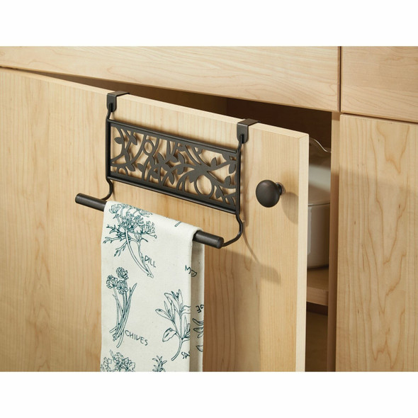 Over Cabinet Door Vine Towel Bar for Kitchen in Bronze - Pack of 2