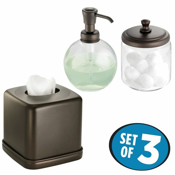 Soap Dispenser Pump, Tissue Box Cover and Canister Jar in Bronze - Set of 3