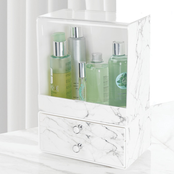 Plastic Stackable Makeup Cosmetic Storage Organizers with Marble Pattern - Set of 2