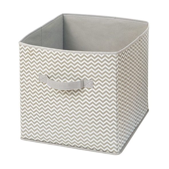 Collapsible Fabric Cube Storage Bins in Taupe/Natural - Pack of 4