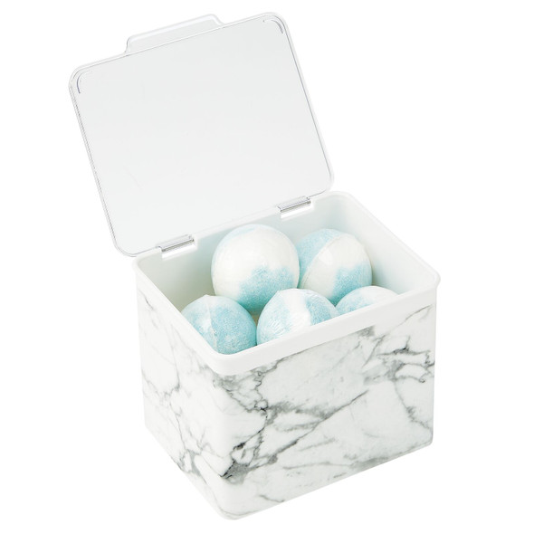 Plastic Bathroom Storage Container with Lid - Marble Pattern