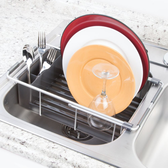 Expandable Aluminum Over Kitchen Sink Dish Drainer