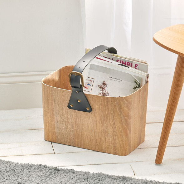 Large Rectangular Wood Basket with Attached Handle for Office