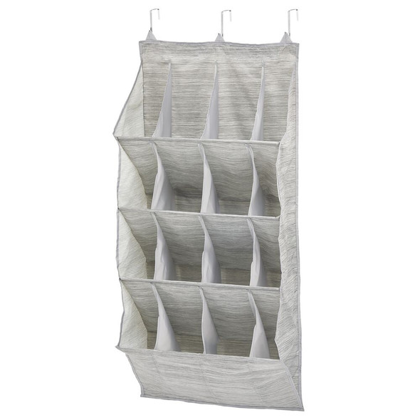 16 Compartment Hanging Shoe Organizer -Taupe Print