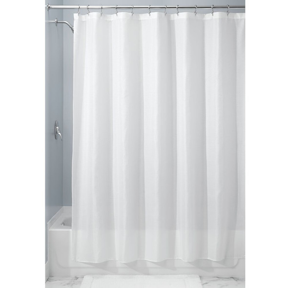 """Extra Long Waffle Weave Fabric Shower Curtains, 72 x 96"""" - Pack of 2"""