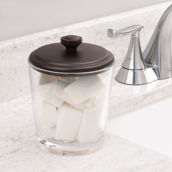 Glass Canister Jar Set for Bath Accessories in Clear/Bronze - Pack of 2