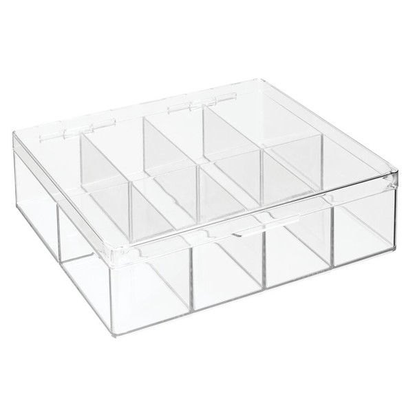 8 Compartment Plastic Divided Craft Jewelry Organizer Box with Hinged Lid - Pack of 2