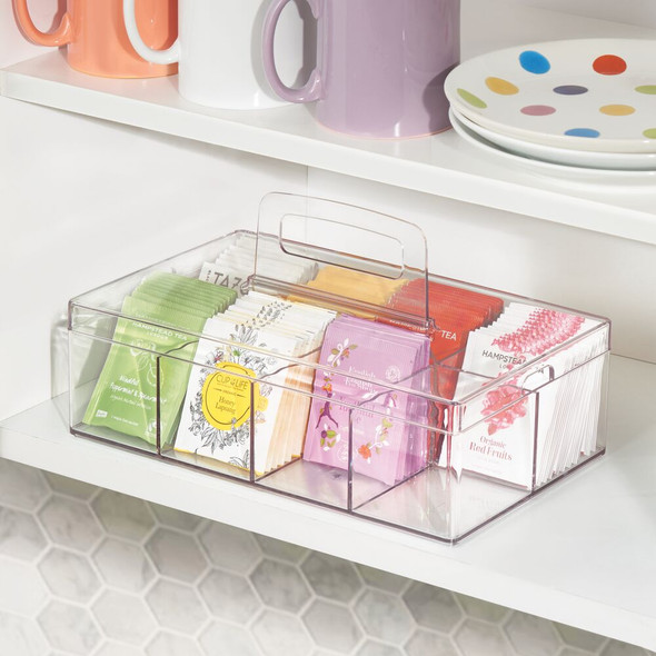 8 Compartment Tea Bag Holder / Condiment Accessory Organizer Box