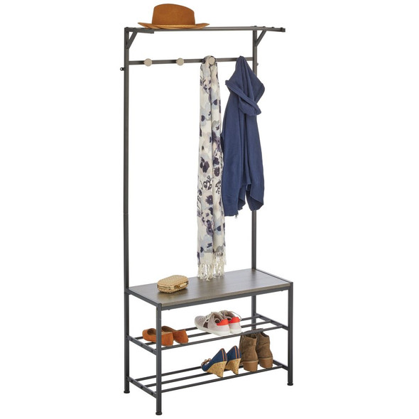 Metal Entryway Bench with Coat Rack Stand - Black/Grey