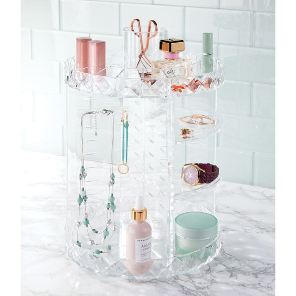 Multi-Tier Spinning Plastic Makeup & Jewelry Storage Organizer