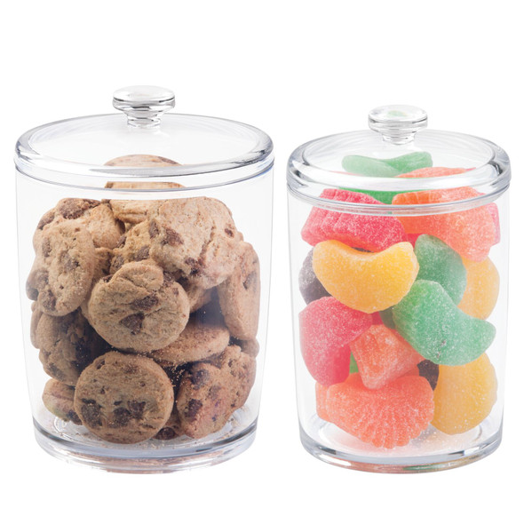 Plastic Kitchen Food Canister Jars with Lids - Set of 2