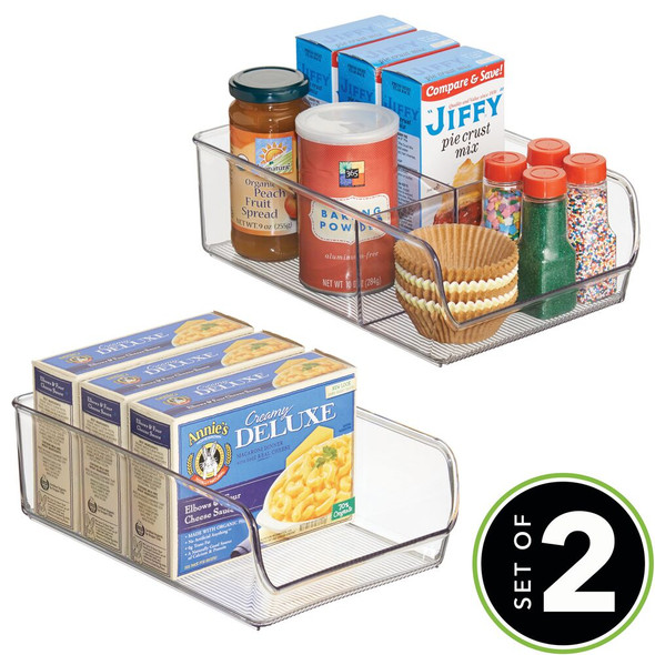 Plastic Kitchen Pantry Food Storage Organizer Bins with Compartments - Set of 2