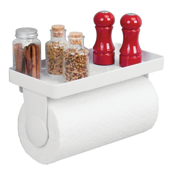 Matte Silver Wall Mounted Kitchen Shelf with Space for Jars Equipped with Kitchen Roll Holder mDesign Kitchen Organiser Bottles and More