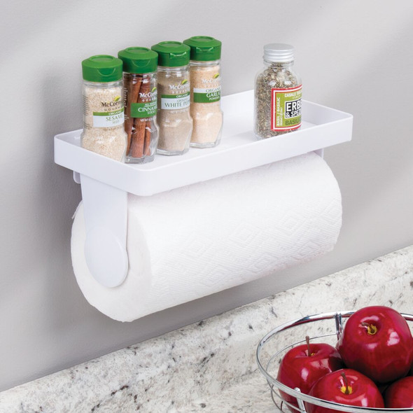 Plastic Wall Mount Paper Towel Holder Storage Shelf - White