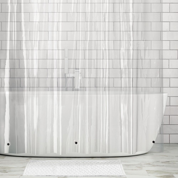 """Clear Plastic Shower Curtain Liner & Rings - 72"""" x 96"""""""