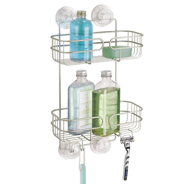 2 Tier Metal Suction Shower Caddy - Satin