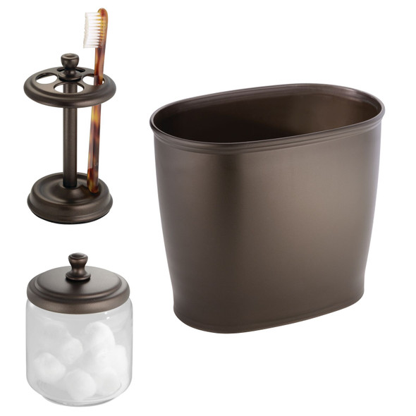 Bathroom Accessory Set in Brown - Toothbrush Holder,Canister, and Wastecan